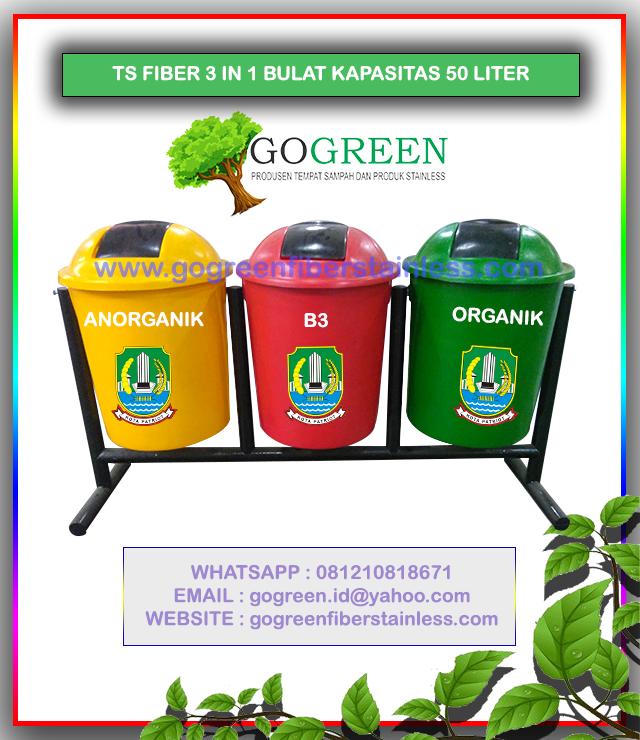 jual tempat sampah fiber bulat 3 in 1 kapasitas 50 liter tiang geser di Bekasi, harga tong sampah fiberglass 3 pilah, 3 warna, dibekasi