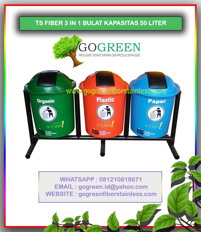 jual tempat sampah fiber bulat 3 in 1 kapasitas 50 liter tiang geser, harga tong sampah fiberglass 3 pilah, 3 warna, 40 l, 60, 70, 80