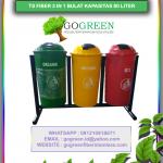 jual tempat sampah fiberglass bulat 3 in 1 kapasitas 80 liter tiang geser, harga tong sampah fiber 3 pilah, daftar harga tempat sampah besar fiber