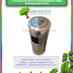 jual tempat sampah stainless bulat motik sasagon atau batik laser pembuangan samping kotak, harga tong sampah unik, murah