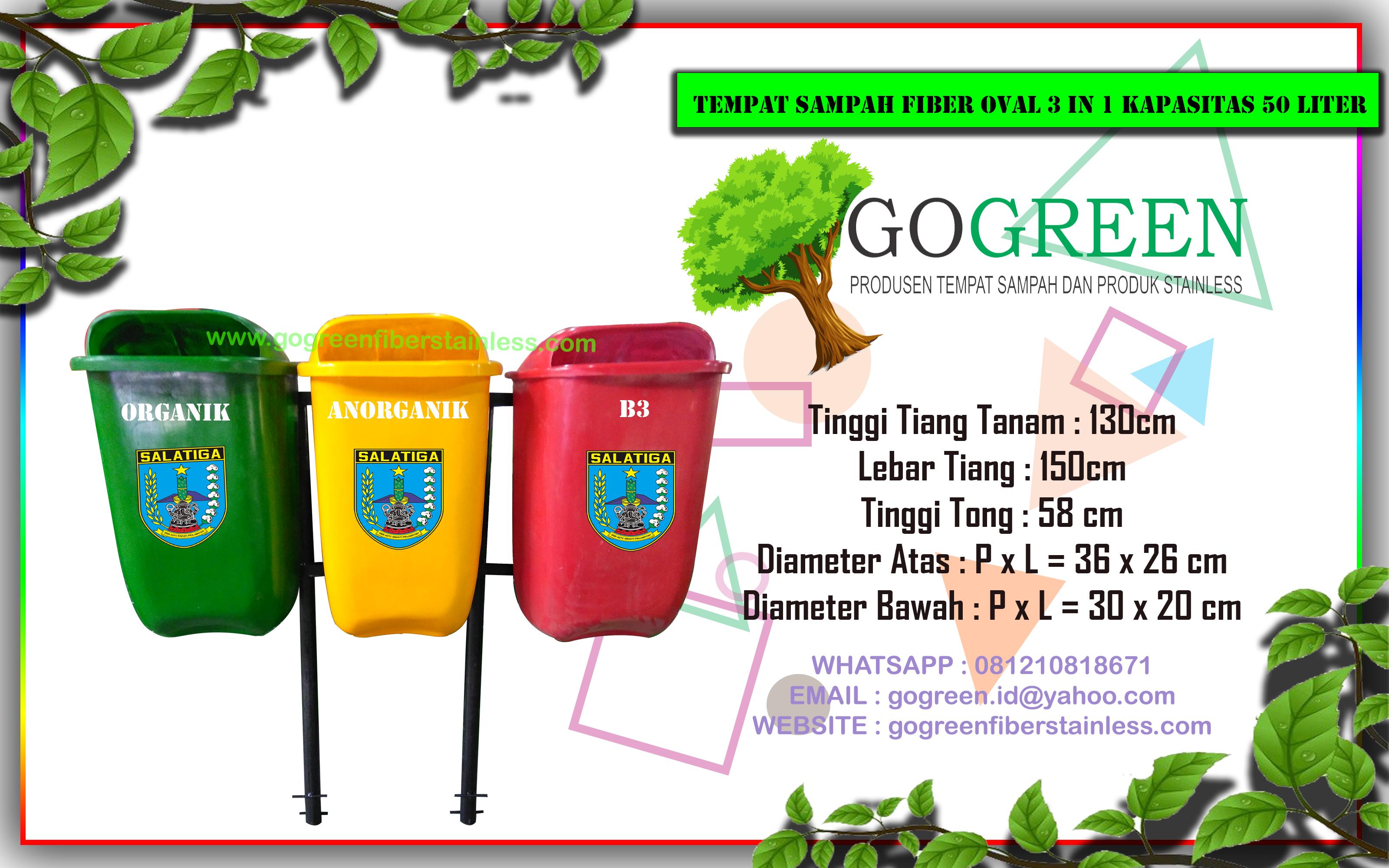 jual tempat sampah fiber oval 3 in 1 kapasitas 50 liter tiang geser di Salatiga, harga tong sampah fiberglass 3 pilah, 3 warna, disalatiga
