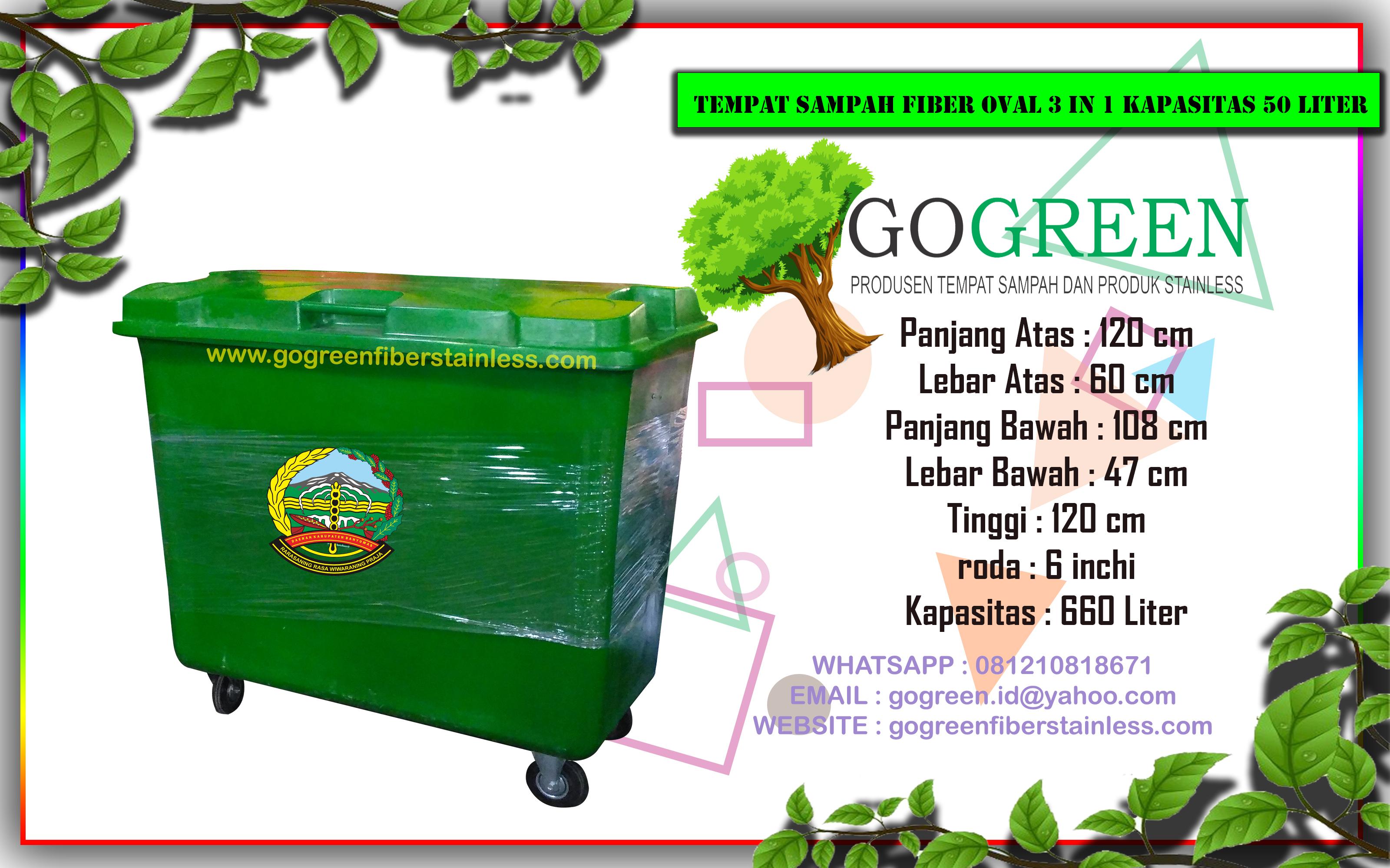 jual tempat sampah fiber roda kapasitas 660 liter di purwokerto banyumas, harga tong sampah fiberglass 3 pilah, 3 warna, dipurwokerto banyumas