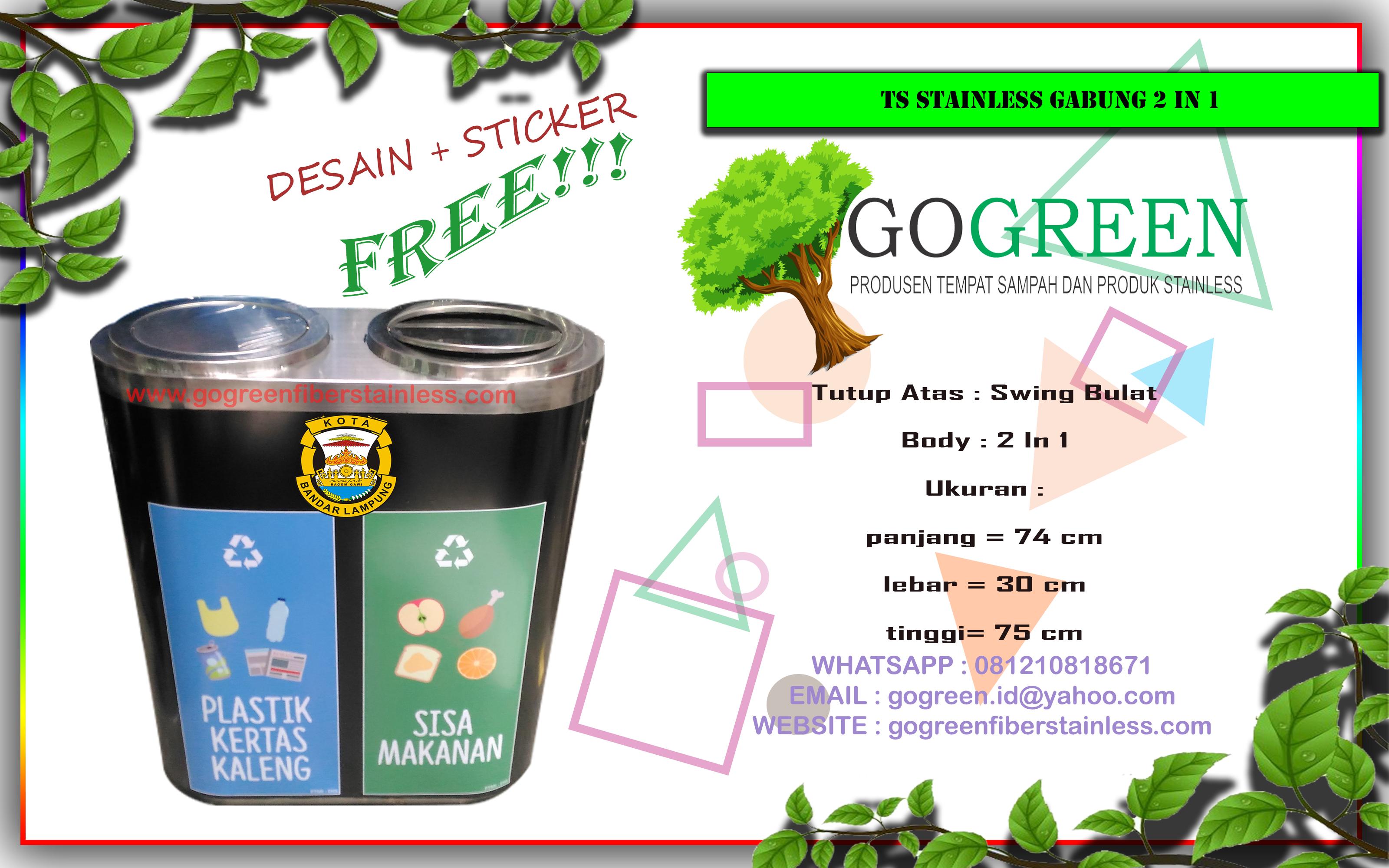 jual tempat sampah stainless steel 2 in 1 di Lampung, harga tong sampah stainless kapsul 2 warna dilampung, spesifikasi stenlis capsule, medis, infeksius, non infeksius